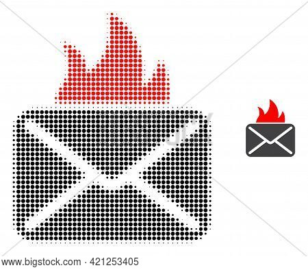 Hot Mail Halftone Dotted Icon Illustration. Halftone Pattern Contains Circle Elements. Vector Illust