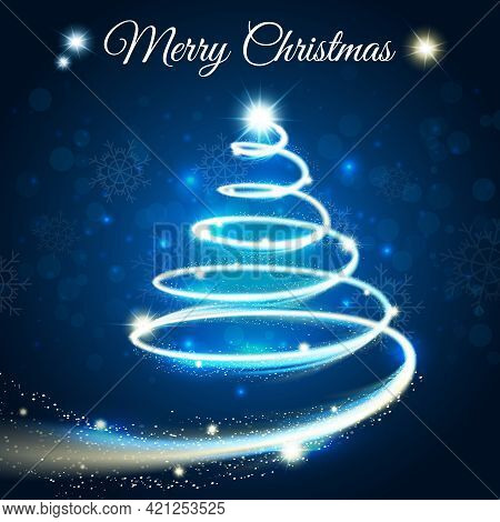 Merry Christmas Card With Outline Tree Drawn By Light Blue Strip On Darck Blue Background Vector Ill