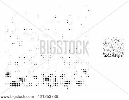 Powder Participles Halftone Dotted Icon Illustration. Halftone Pattern Contains Circle Pixels. Vecto