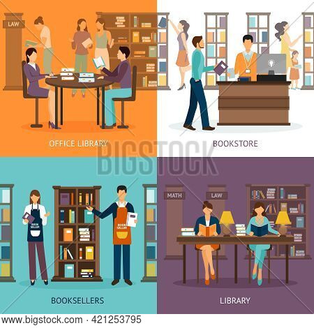 Set Of 2x2 Images Presenting Scenes Of Library Services Like Library Bookstore And Booksellers Flat