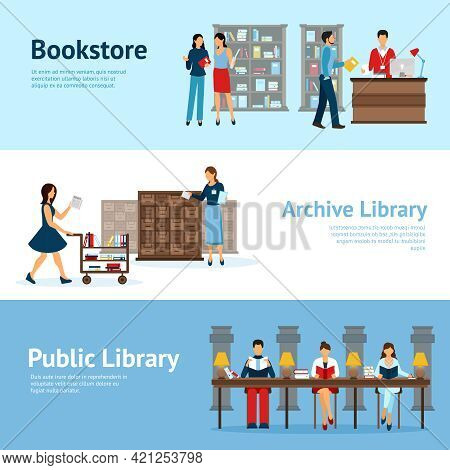 Flat Horizontal Banners With Titles Presenting Bookstore Customers Archive Library Staff And Public