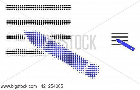 Edit Text Halftone Dot Icon Illustration. Halftone Pattern Contains Round Pixels. Vector Illustratio
