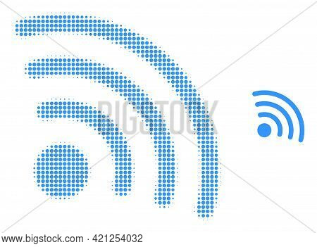 Internet Source Halftone Dot Icon Illustration. Halftone Pattern Contains Round Elements. Vector Ill
