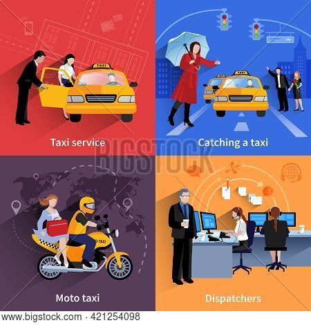 Set Of 2x2 Banners Of Taxi Service System Including Dispatchers Moto Taxi And Ordinary Taxi Flat Vec