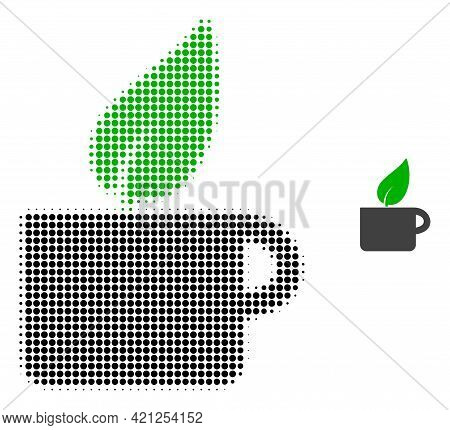 Herbal Tea Halftone Dotted Icon Illustration. Halftone Pattern Contains Round Pixels. Vector Illustr