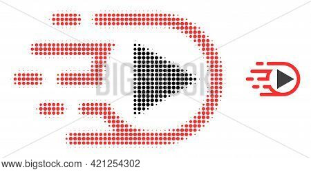 Play Function Halftone Dot Icon Illustration. Halftone Array Contains Round Dots. Vector Illustratio