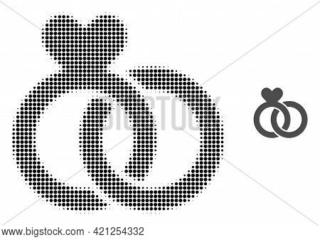 Wedding Rings Halftone Dotted Icon Illustration. Halftone Array Contains Round Pixels. Vector Illust
