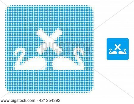 Divorce Swans Halftone Dotted Icon Illustration. Halftone Array Contains Circle Elements. Vector Ill