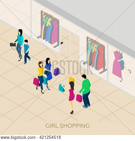 Girl Shopping With Friends And Boyfriend In A Shopping Center Isometric Vector Illustration