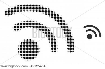 Radio Signal Halftone Dotted Icon Illustration. Halftone Array Contains Round Elements. Vector Illus