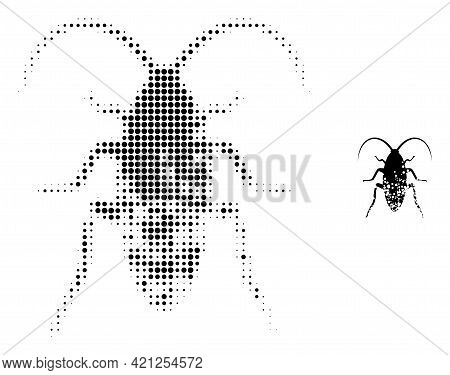 Damaged Cockroach Halftone Dot Icon Illustration. Halftone Array Contains Circle Elements. Vector Il