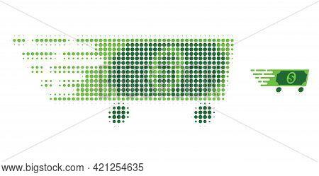 Dollar Wagon Halftone Dot Icon Illustration. Halftone Pattern Contains Circle Elements. Vector Illus