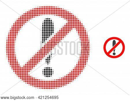 Forbidden Exclamation Halftone Dotted Icon Illustration. Halftone Array Contains Circle Points. Vect