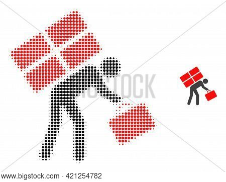 Refugee Person Halftone Dotted Icon Illustration. Halftone Array Contains Circle Dots. Vector Illust