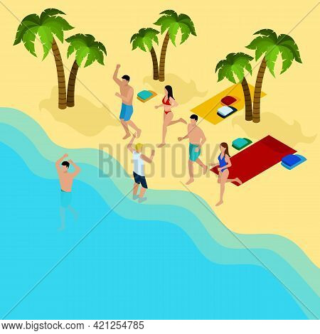 Friends On The Beach With Palm Trees Sand And Sea Isometric Vector Illustration