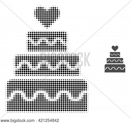 Marriage Cake Halftone Dotted Icon Illustration. Halftone Pattern Contains Circle Pixels. Vector Ill