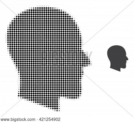 Gentleman Profile Halftone Dotted Icon Illustration. Halftone Array Contains Circle Dots. Vector Ill