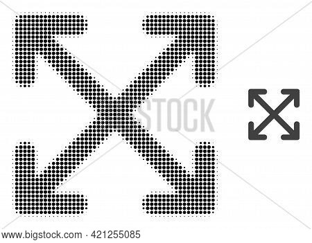 Enlarge Arrows Halftone Dotted Icon Illustration. Halftone Array Contains Round Elements. Vector Ill