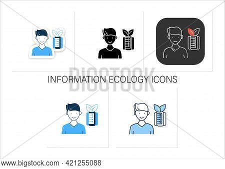 Information Pollution Icons Set.contamination Space Supply With Irrelevant, Redundant, And Low-value