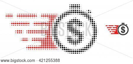 Credit Time Halftone Dot Icon Illustration. Halftone Pattern Contains Round Dots. Vector Illustratio