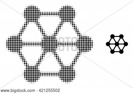 Node Connections Halftone Dotted Icon Illustration. Halftone Pattern Contains Circle Points. Vector