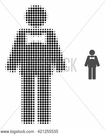 Groom Halftone Dot Icon Illustration. Halftone Array Contains Circle Pixels. Vector Illustration Of