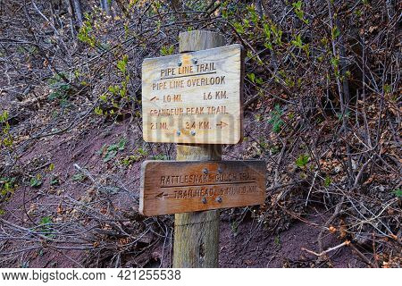 Trail Signs Hiking Along Grandeur Peak, Pipe Line Overlook And Rattlesnake Gulch Trails In The Wasat