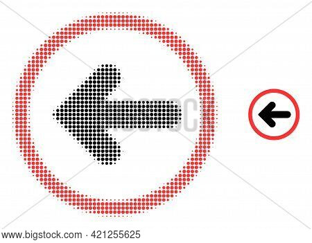 Left Pointer Halftone Dot Icon Illustration. Halftone Array Contains Circle Pixels. Vector Illustrat