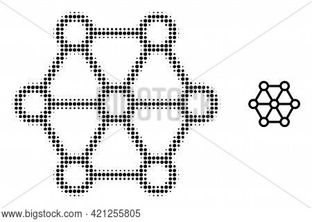 Link System Halftone Dot Icon Illustration. Halftone Pattern Contains Round Points. Vector Illustrat