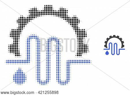 Water Supply Service Halftone Dotted Icon Illustration. Halftone Pattern Contains Circle Points. Vec