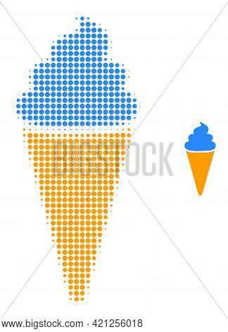 Ice Cream Halftone Dotted Icon Illustration. Halftone Pattern Contains Round Dots. Vector Illustrati