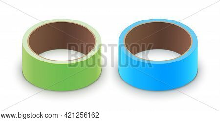 Scotch Yellow Roll Adhesive Tape Mockup. Sellotape 3d Packing Vector Scotch Icon
