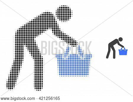 Tired Buyer Persona Halftone Dot Icon Illustration. Halftone Pattern Contains Circle Elements. Vecto