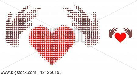 Handmade Love Halftone Dot Icon Illustration. Halftone Pattern Contains Round Pixels. Vector Illustr