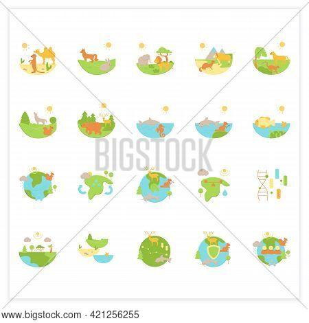 Biodiversity Flat Icons Set. Consists Of Desert, Grassland, Tundra, Freshwater, Rainforest, Coral Re