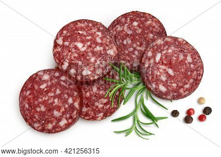 Smoked Sausage Salami Slices Isolated On White Background With Clipping Path And Full Depth Of Field