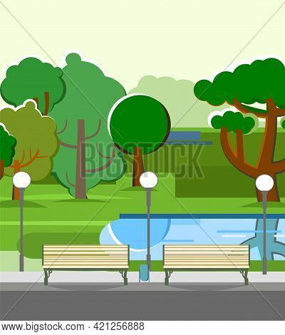 City Park Area. Trees, Shrubs And Lanterns. Beautiful Summer Cityscape In Restrained Colors. Pond An