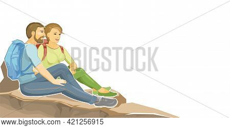 Man And Woman Are Sitting On A Cliff. Stone Rock. The Climber Is Resting At The Height. A Hiker With