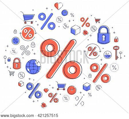 Percent Symbol Taxes, Return On Investment, Refund, Stock Market, Refinance, Bookkeeping And Account