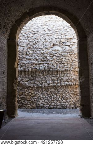 Tarragona, Spain, March 1, 2020 - Colosseum Arena Base And Archway For Spectators. Historical Herita