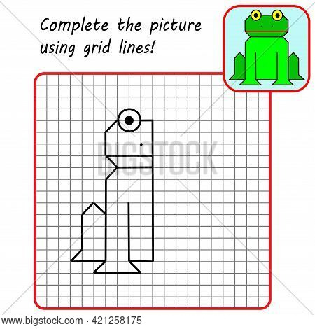 Educational Game For Kids. Simple Exercise Frog. Drawing Using Grid. Symmetrical Drawing. Vector Ill