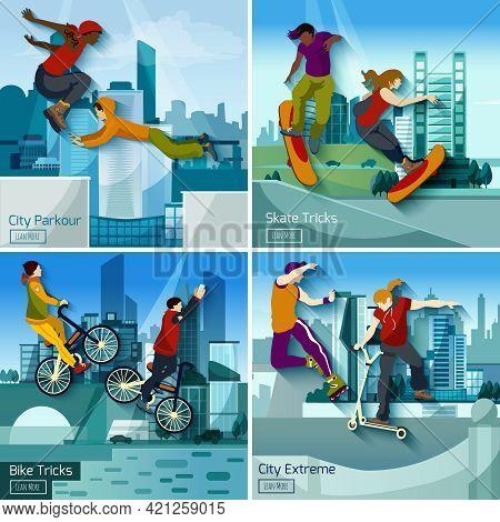 Extreme City Sports 2x2 Design Concept Set Of Parkour Skate And Bike Tricks Compositions Flat Vector