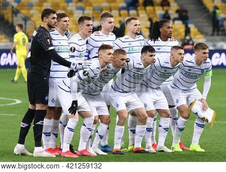 Kyiv, Ukraine - March 11, 2021: Dynamo Kyiv Players Pose For A Group Photo Before The Uefa Europa Le