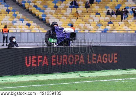 Kyiv, Ukraine - March 11, 2021: Uefa Europa League Banner On A Pitch Of Nsc Olimpiyskyi Stadium In K