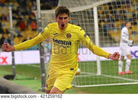 Kyiv, Ukraine - March 11, 2021: Gerard Moreno Of Villarreal Reacts After His Team Scored A Goal Duri