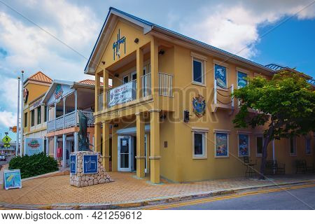 Grand Cayman, Cayman Islands, July 2020, View Of Guy Harvey Entrance Building A Store And Art Galler