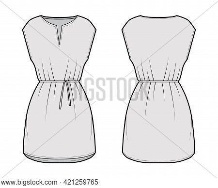 Dress Tunic Technical Fashion Illustration With Tie, Sleeveless, Oversized Body, Mini Length Skirt,