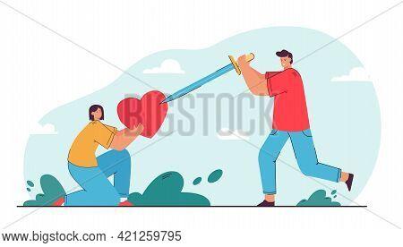 Young Man Broking Heart That Girl Holding. Flat Vector Illustration. Cartoon Guy Striking Woman Hear