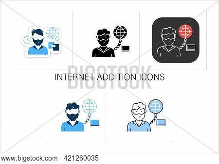 Internet Addition Icons Set.excessive Or Poorly Controlled Dependency Regarding Computer Use And Int