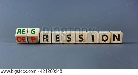 Depression Or Regression Symbol. Turned Cubes And Changed The Word 'depression' To 'regression'. Bea